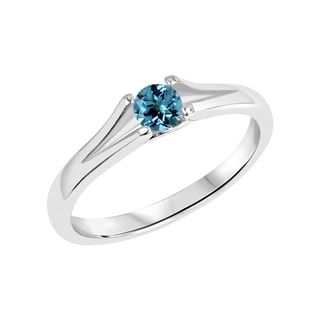Sterling Silver Round Swiss Blue Topaz Gemstone Split Shank Ring