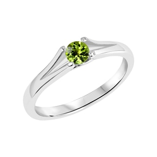 Sterling Silver Round Peridot Gemstone Split Shank Ring