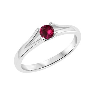 Sterling Silver Round Created Ruby Gemstone Split Shank Ring