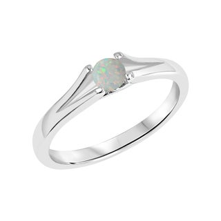 Sterling Silver Round Created Opal Gemstone Split Shank Ring