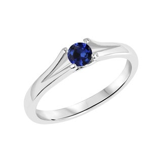 Sterling Silver Round Created Blue Sapphire Gemstone Split Shank Ring