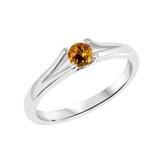 Sterling Silver Round Citrine Gemstone Split Shank Ring