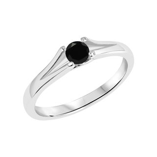 Sterling Silver Round Black Onyx Gemstone Split Shank Ring