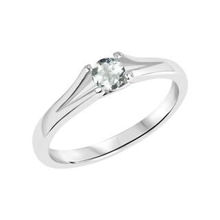Sterling Silver Round Aquamarine Gemstone Split Shank Ring