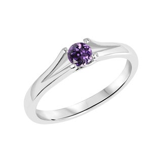 Sterling Silver Round Amethyst Split Shank Solitaire Ring