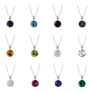 Sterling Silver 6mm Round Solitaire Birthstone Gemstone Pendant Necklace