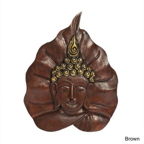 Handmade Serene Face of Buddha Pho Bodhi Tree Leaf Wall Art (Thailand)