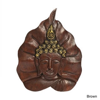 Handmade Serene Face of Buddha Pho Bodhi Tree Leaf Wall Art (Thailand)