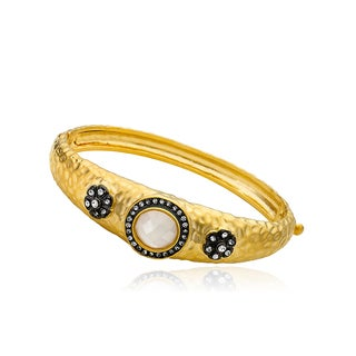 Radiance Bijou by Riccova Black and Goldtone Crystal Flower Hinged Bangle Bracelet
