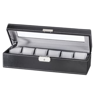 Sorbus Black 6 Slot Watch Box