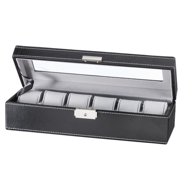 6 Slot Watch Box, Black