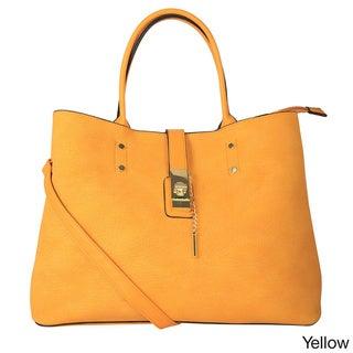 Diophy Goldtone Lock Tote Handbag