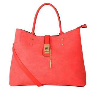 Diophy Goldtone Lock Tote Handbag