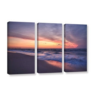 ArtWall 'Dan Wilson's Outer Banks Sunset I' 3-piece Gallery Wrapped Canvas Set