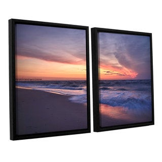 ArtWall 'Dan Wilson's Outer Banks Sunset I' 2-piece Floater Framed Canvas Set
