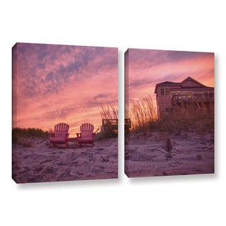 ArtWall 'Dan Wilson's Outer Banks-Pink' 2-piece Gallery Wrapped Canvas Set