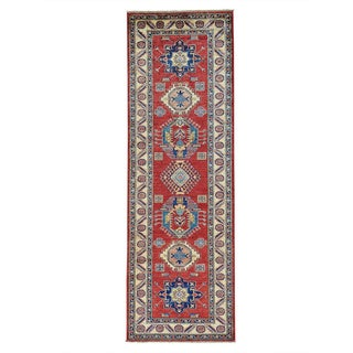 Red Tribal Super Kazak Pure Wool Hand-knotted Runner Rug (2'8 x 8'3)