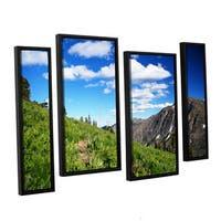ArtWall 'Dan Wilson's Mountain Meadow' 4-piece Floater Framed Canvas Staggered Set - Multi