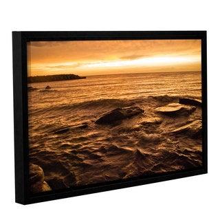 ArtWall 'Dan Wilson's Lake Erie Sunset III' Gallery Wrapped Floater-framed Canvas