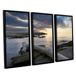 ArtWall 'Dan Wilson's Lake Erie Sunset II' 3-piece Floater Framed Canvas Set