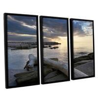 ArtWall 'Dan Wilson's Lake Erie Sunset II' 3-piece Floater Framed Canvas Set - Multi