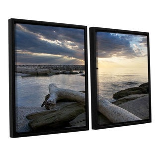 ArtWall 'Dan Wilson's Lake Erie Sunset II' 2-piece Floater Framed Canvas Set