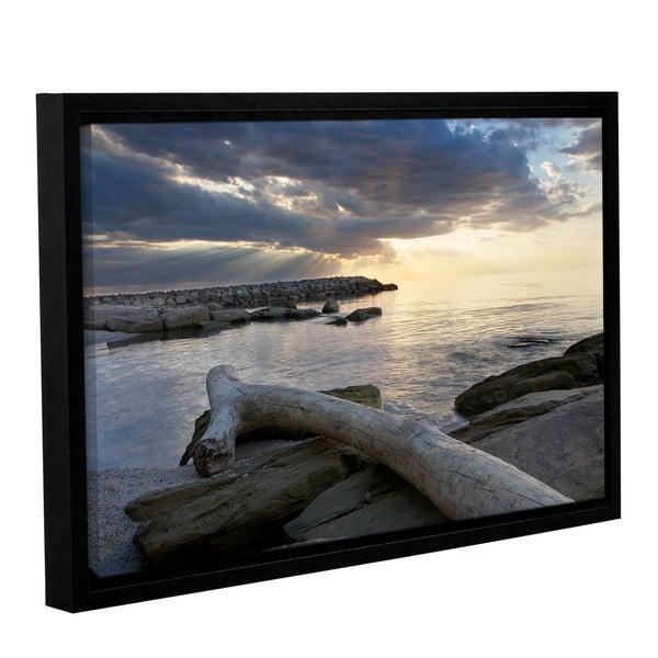 ArtWall 'Dan Wilson's Lake Erie Sunset II' Gallery Wrapped Floater-framed Canvas - Multi