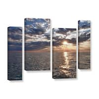 ArtWall 'Dan Wilson's Lake Erie Sunset I' 4-piece Gallery Wrapped Canvas Staggered Set - Multi