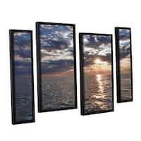 ArtWall 'Dan Wilson's Lake Erie Sunset I' 4-piece Floater Framed Canvas Staggered Set - Multi
