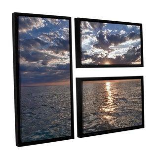 ArtWall 'Dan Wilson's Lake Erie Sunset I' 3-piece Floater Framed Canvas Flag Set