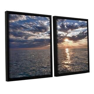 ArtWall 'Dan Wilson's Lake Erie Sunset I' 2-piece Floater Framed Canvas Set