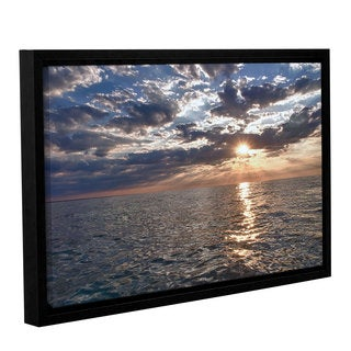 ArtWall 'Dan Wilson's Lake Erie Sunset I' Gallery Wrapped Floater-framed Canvas