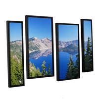 ArtWall 'Dan Wilson's Crater Lake' 4-piece Floater Framed Canvas Staggered Set - Multi