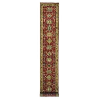 Pure Wool Karajeh XL Rust Red Handmade Oriental Runner Rug (2'6 x 14')