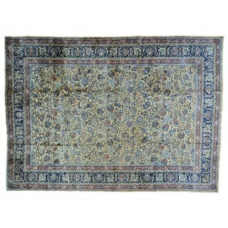 Antique Persian Mashad Gallery Size Handmade Oriental Rug (12' x 16')