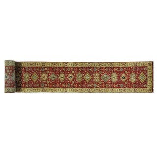 Karajeh Rust Red XL Hand-knotted Oriental Runner Rug (2'7 x 23'10)