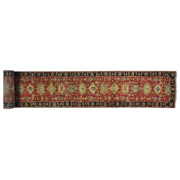 Karajeh Pure Wool Rust Red XL Handmade Oriental Runner Rug - 2'7 x 22'