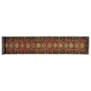 XL Karajeh Rust Red Pure Wool Handmade Oriental Runner Rug (2'6 x 14')