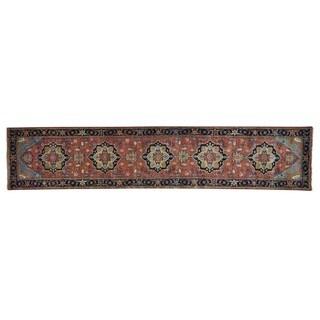 Antiqued Serapi Heriz Recreation Hand-knotted Runner Rug (2'6 x 12'1)