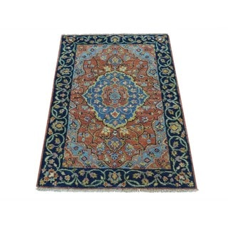 Antiqued Serapi Heriz Hand-knotted Oriental Pure Wool Rug (2' x 3')