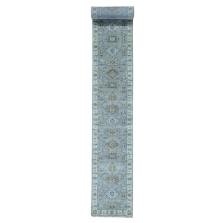 Karajeh Silver Wash XL Pure Wool Hand-knotted Runner Rug (2'7 x 21'10)