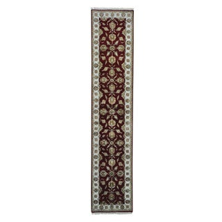 Hand-knotted Rajasthan Wool and Silk Oriental Runner Rug (2'6 x 12')