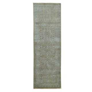 Damask Wool and Silk Tone On Tone Hand-knotted Runner Rug (2'8 x 8'3)