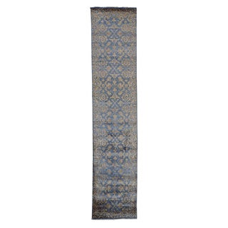 Wool and Silk Damask Tone On Tone Hand-knotted Runner Rug (2'6 x 11'8)