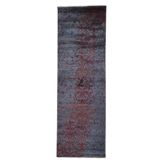 Wool and Silk Damask Tone On Tone Handmade Runner Rug (2'8 x 8'2)