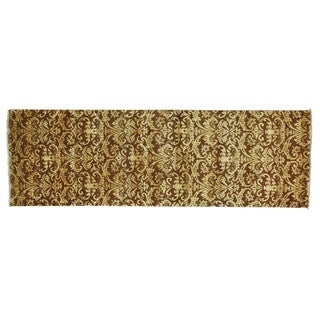 Damask Tone On Tone Wool and Silk Handmade Runner Rug (2'6 x 7'9)