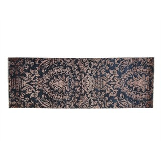 Damask Wool and Silk Tone On Tone Hand-knotted Runner Rug (2'10 x 8'3)
