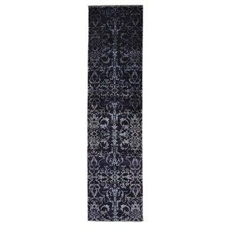 Wool and Silk Tone On Tone Damask Handmade Runner Rug (2'5 x 9'7)