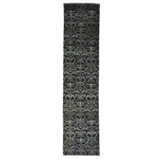 Damask Tone On Tone Wool and Silk Handmade Runner Rug (2'4 x 9'8)