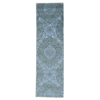 Tone On Tone Wool and Silk Damask Handmade Runner Rug (2'4 x 8')